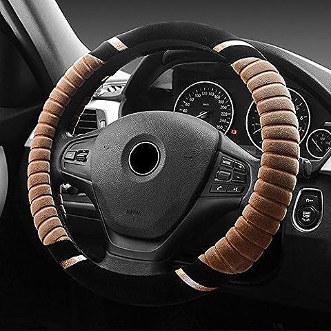 Eclear universel de voiture en peluche ronde Hiver chaud Housse de volant antidérapant de 38,1cm/38cm Auto Truck SUV Frein à main Coussin protecteur