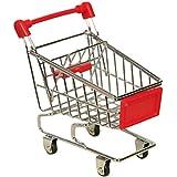 Mini Supermercado para Pajaro Loro Mascota de Juguete,AZX,Mini Jugeute Carro de Compras Pájaro, Utilidad Cesta Modo de Aalmacenamiento (Rojo)