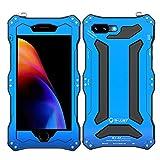 Generic Generic R-JUST wasserdichte stoßfeste Metall-Aluminium-Gorilla-Glas Schutzhülle für iPhone 7 Plus/8 Plus - Blau