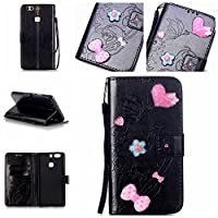 For Huawei P9 Plus Case [With Tempered Glass Screen Protector],idatog(TM) Magnetic Flip Book Style Cover Case ,High Quality Classic Elegant Bling Sparkle Rhinestone Love Butterfly Pattern Design Premium PU Leather Folding Wallet Case With [Lanyard Strap] and [Credit Card Slots] Stand Function Folio