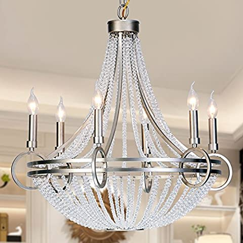 Pearl crystal chandeliers vintage iron model American country clothing store living room rooms bedroom ideas chandelier , 6 head diameter d72cm*68cm