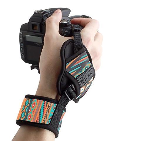 USA Gear Dragonne Grip Sangle Poignet Rapide Appareils Photo Numériques Réflex et Bridge - Bracelet Pour Nikon D3300 , D5300 / Canon EOS 750D , 700D / Pentax , Panasonic Lumix DMC-FZ300 Et Plus -