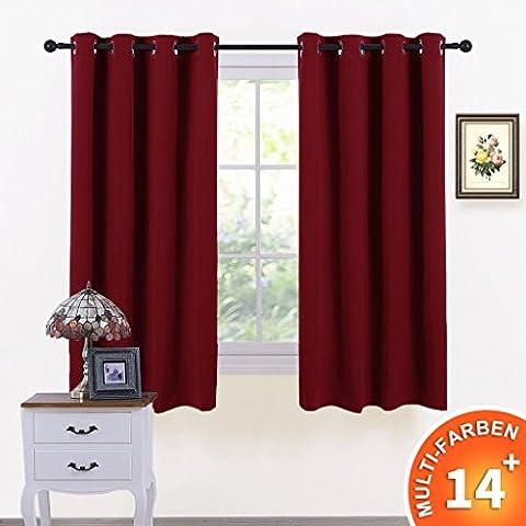 Vorhänge Blickdicht Vorhang mit Ösen - PONY DANCE 2 Stücke 137 cm x 116 cm (L x B), Verdunkelungsvorhänge, für Büro, Schlafzimmer, Wohnzimmer, Rot