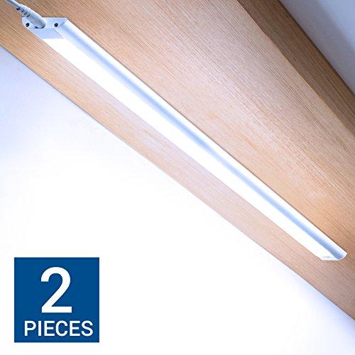Hyperikon DOPPELPACK - dimmbare LED Lichtleiste mit Handsensor und viel Zubehör / 60cm / 9W Unterbauleuchte / Hellweiß 6000K / 760 Lumen / erweiterbar / anklebbar