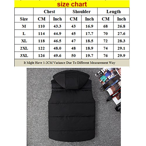 Zhhlinyuan haute qualité Men's Winter Zipper Vest Removable Hood Sleeveless Down Jacket green