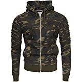Kayhan Uomo Giacca con capucccio New York, Camouflage/Green (M)