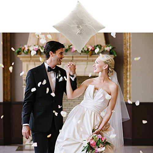 Cuscino per anelli Cuscino bianco per matrimonio (Farfalla) - 2