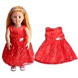 dolls accessory dolls clothes, DIY Doll Clothes Dress Lovely Princess Dress Up Costume Clothes christmas Dress skirt for 18 inch our generation Fashion Dolls - Hirolan Dolls Outdoor Accessories (Red)