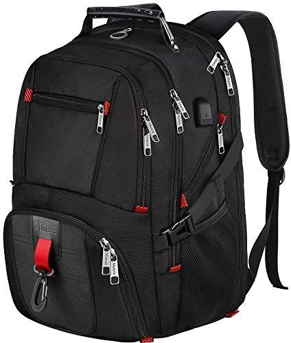 Laptop-Rucksack, wasserabweisend, mit USB-Ladeanschluss und Kopfhörerloch, 17,3 TSA Business College Outdoor Reisen Wandern Schultasche passt für die meisten 17 Zoll Laptops und Notebooks, Schwarz