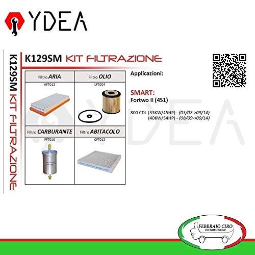 Kit Tagliando Smart Fortwo II (451) - YDEA, con promemoria tagliando e Certificato di QUALITA' ISO/TS16949