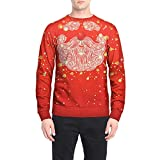 SEWORLD Weihnachten Christmas Herren Abend Party Männer Weihnachtskostüm Sankt Drucken Urlaub Humor Langarm T-Shirt Xmas Top(X1-4-rot,EU-52/CN-XL)