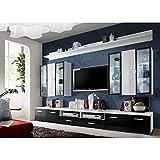 JUSTyou ICALIND Wohnwand Anbauwand Schrankwand (HxBxT): 190x300x45 cm Weiß Matt / Schwarz Weiß Hochglanz