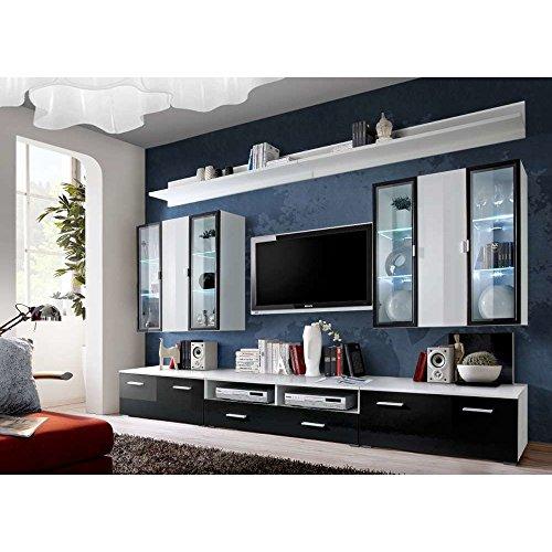 JUSThome ICELAND Wohnwand Anbauwand Schrankwand (HxBxT): 190x300x45 cm Weiß Matt / Schwarz Weiß Hochglanz