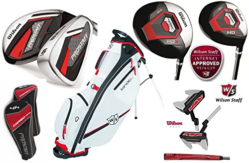 Wilson HDX Combo alle graphit Golf Set Komplett mit Wilson Ionix Prostaff Stand Bag harmanized M2Putter, 1HDX 460cc Driver & HDX 3Fairway Holz. 3& 4Combo-Hybriden, 6–Sand Wedge Combo-Eisen (Eisen ist ausgestattet mit Graphit Schäfte)