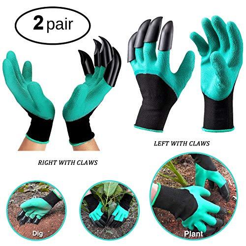 SELMAI Garten Handschuhe mit Krallen Genie Handschuhe für Jäten und Pflanzen Fingerspitzen Klauen für Männer Frauen 2Paar (Handschuh Mit Krallen)