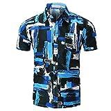 QUINTRA Persönlichkeit Männer Casual Schlank Kurzarm Printed Shirt Top Bluse (Mehrfarbig, L)