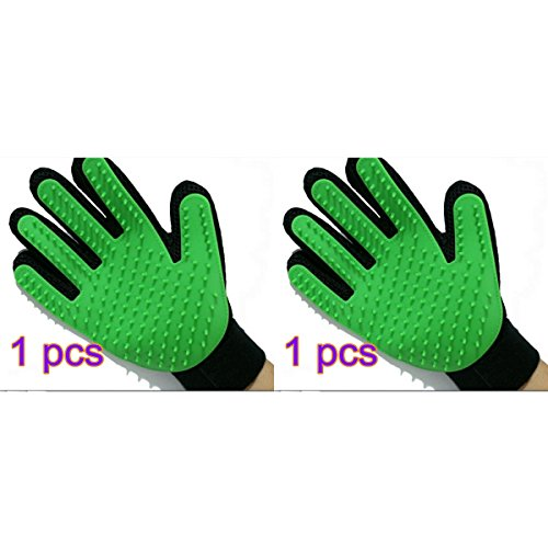 ABCMOS Pet Grooming Glove, Gentle Deshedding Brush Glove Efficient Pet Hair Remover Mitt Massage Tool With Enhanced Five Finger Design Perfect For Dogs Cats With Long Short Fur