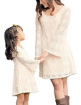 Tomwell Verano Cuello Redondo Manga Larga Madre E Hija Costura de Encaje Partido de Tarde Mini Vestido Familia...