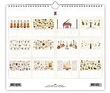 Calendrier de l\'anniversaire, Instruments de musique, embossé avec de l\'or et feuille d\'argent, Taille 225mm x 195mm, par Quire