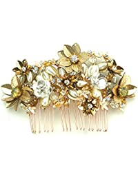 STUDIO ACCESSORIES Gold color Crystal, sequins and Pearl Embellished Floral Hair Comb Hairclip