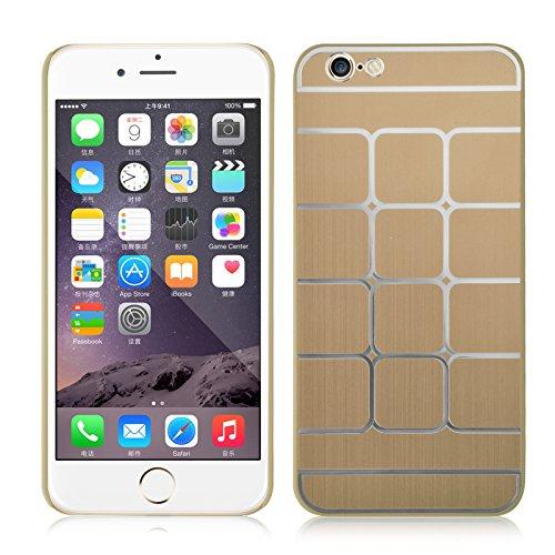 JAMMYLIZARD | Dreiteilige Aluminium Schutzhülle für [ iPhone 6 & 6s 4.7 Zoll ], GOLD Quadratenmuster - GOLD