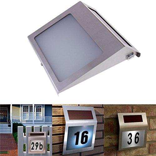 LEDMOMO Solarbetriebene 3 LED Haus Adresse Nummer Türschild Lampe Licht weiss Edelstahl Garten Terrasse Licht Wandleuchte Adresse Licht