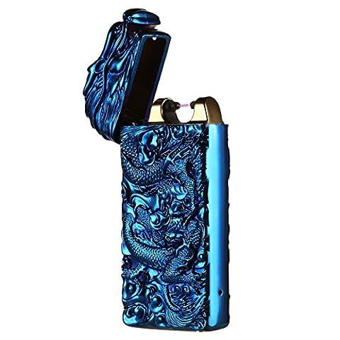 USB Elektronisches Feuerzeug Drache Aufladbar Doppel Lichtbogen Sturmfeuerzeug Zigarettenanzünder ohne Flamme für Zigaretten Camping von QIMAOO
