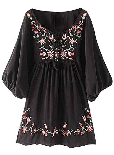 Futurino Damen Bohemian Stickerei Floral Tunika Shift Bluse Flowy Minikleid (S, Schwarz-1)