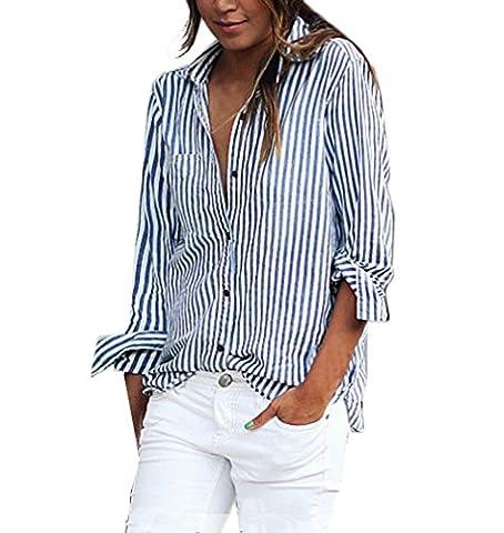 Damen Shirts Langarm Sommer V Ausschnitt Elegant Gestreift Basic Blouse Festliches Blouses Langarmshirts Hemdblusen Blusen Blau+Weiß