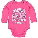 Shirtracer Sprüche Baby - Scheiß aufs Pferd echte Prinzen kommen mit dem Motorrad - 12-18 Monate - Fuchsia - BZ30 - Baby Body Langarm
