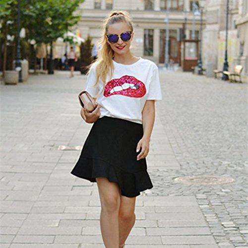 WanYang T-shirt A Stampa Labbra Paillettes Manica Corta Estate Girocollo Maglietta Donna Moda Camicetta Bianco