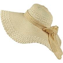 Chicas Grande Sombrero de la playa / Sombrero de paja / Sombrero de verano Sombrero De Fiesta Sombrero de sol Pamela One Size/niña Beige