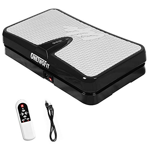 ONETWOFIT Fitness Vibrationsplatte, Vibrations-Platte Ganzkörper-Vibration Training Maschine Trainingsgerät Fitnessgerät Workout Trainer für zu Hause Farbe: Schwarz OT108EU