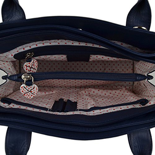 Borsa donna in pelle Grab Bag by Mala Lucy Collezione Tracolla Cuori Navy