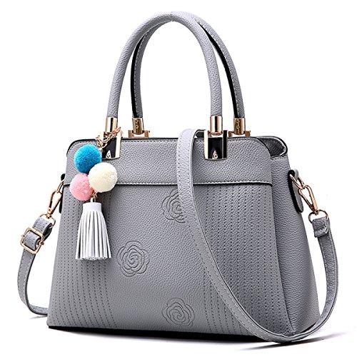 WU ZHI Dame Fashion Handtasche Troddel Einfache Wild Schultertasche Handtasche Messenger Bag Grey1