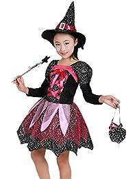 Ropa de Halloween Disfraz Vestido Vestidos de Fiesta + Hat +Magic Wand + Bag,Bruja Disfraz Traje Parte Las Niñas…