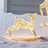 Lights4fun LED Glitzer Rehkitz Figur warmweiß 72cm Timer innen und außen