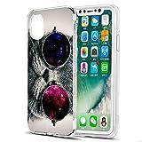 Eouine Coque iPhone XS, Coque iPhone X, Etui en Silicone 3D Transparente avec Motif Peinture [Anti Choc] Housse de Protection Coque pour Téléphone Apple iPhone XS/X - 5,8 Pouces (Chat)