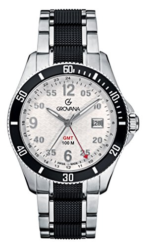 GROVANA-16161172-Mens-Quartz-Swiss-Watch-with-White-Dial-Analogue-Display-and-Silver-Stainless-Steel-Bracelet