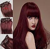 Romantic Angels Clip in Extensions Echthaar für komplette Haare Remy Haarverlängerung 100g 45cm Farbe:Burgundy#99j
