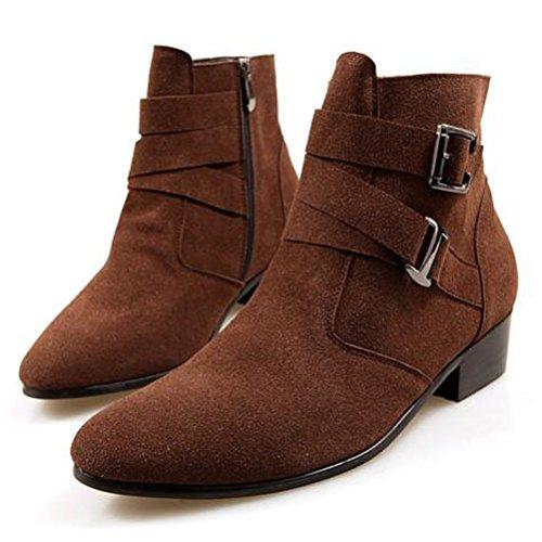 MatchLife Herren Leisure Kurzschaft Stiefel Martin Stiefel Style2-Braun-Fleece
