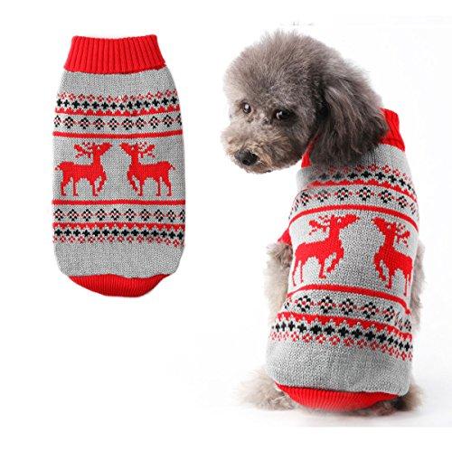 Hund Pullover Warm Coat für Hunde christmasâ Rentier Stricken Muster Pet Rollkragen Pullover für Festive holiday (Pullover Stricken Rollkragen)