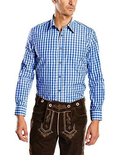 Fuchs Trachtenmoden Herren Trachten Hemd, Gr. Kragenweite: 39 cm (Herstellergröße: M), Mehrfarbig (Blue/White check)