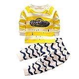 erthome Baby Kleidung Set Jungen Mädchen Cartoon Print Hoodie Tops Shirt + Hosen Outfits (Gelb, 6-12 Monate)