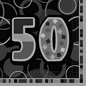 Unique Party- Paquete de 16 servilletas de papel de 50 cumpleaños, Color negro, Edad (28482)