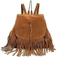 DAYAN Bolsa de viaje mochila bandolera con flecos moda casual retro de Mujer bolsa