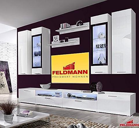 Wohnwand 250928 Anbauwand 8-teilig weiß Hochglanz / schwarz