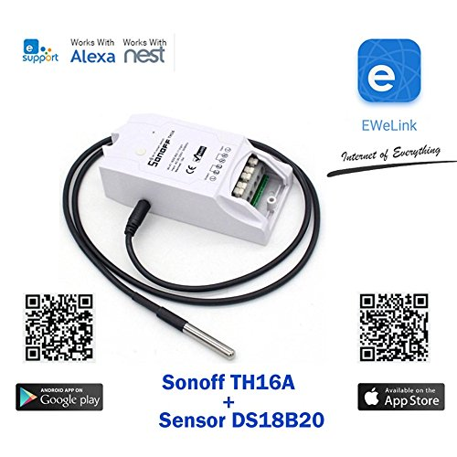 Sonoff TH16A + Sensor DS18B20 WiFi Romote Smart Switch Wireless, Waterproof Temperature Monitoring and Triggering, DIY Smart Home (Work Amazo Home Assistant Nest IFTTT MQTT) Android and iOS App