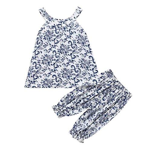 Bonjouree Pantalon Et T-Shirt Fille Hauts Sans Manches Imprimé Et Pantalon Ete pour enfant Fille 3-6 Ans (Bleu, 4 Ans)