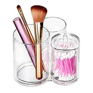 ISWEES Kosmetik Organizer – 3 Fächer Makeup Pinselhalter Becher Ständer Acryl Make up Aufbewahrung Kosmetikpinsel Behälter,Klar Pinsel Baumwolle Ball & Swab Halterung